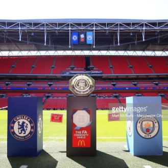 LONDON, ENGLAND - AUGUST 05: A detail view of the FA Community Shield trophy is seen inside the stadium prior to the FA Community Shield between Manchester City and Chelsea at Wembley Stadium on August 5, 2018 in London, England. (Photo by Matt McNulty - Manchester City/Man City via Getty Images)