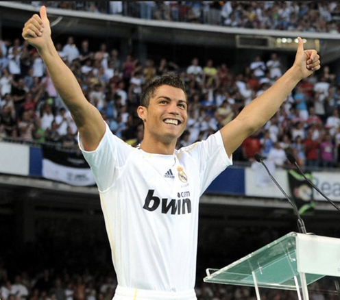 Ronaldo being unveiled as a Real Madrid player in 2009..